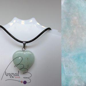 Kis szív alakú ásványmedál, amazonit