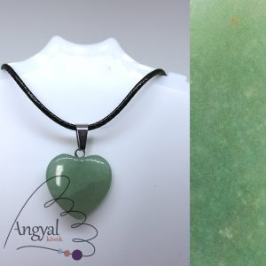 Kis szív alakú ásványmedál, aventurin