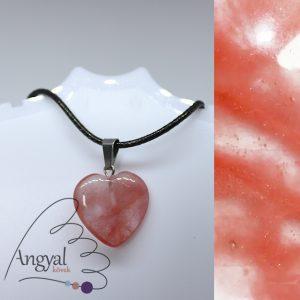 Kis szív alakú ásványmedál, cseresznyekvarc