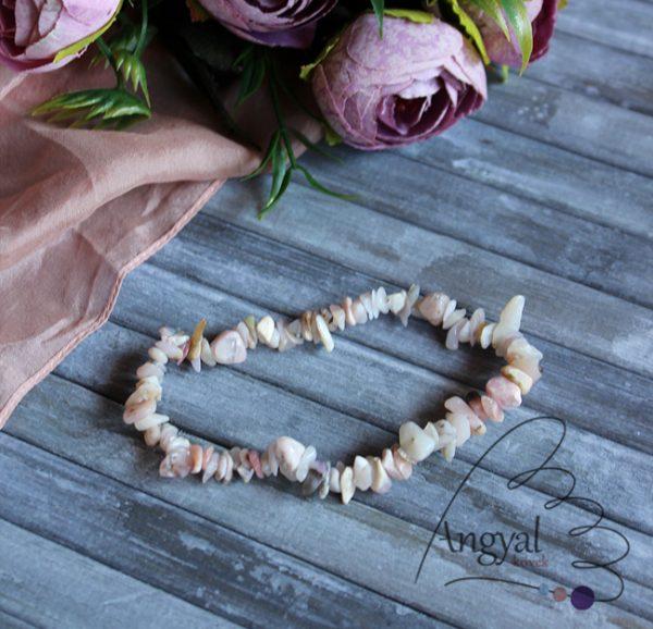 Rózsaopál szemcse ásvány karkötő -rózsaopál ékszerek készleten