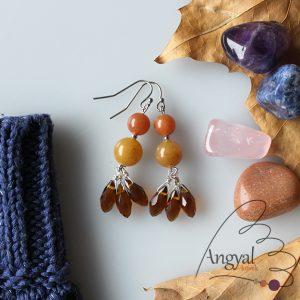 Csüngős ásvány fülbevaló, narancs-barna - 2018 őszi kollekció