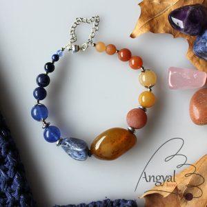 Kék-narancs nugget forma karkötő