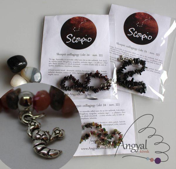 Horoszkópos ásvány karkötő medállal, Skorpió