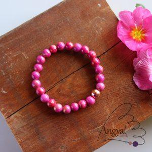 Pink-arany jáde ásvány karkötő rózsaarany hematittal