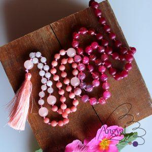 Egyedi pink ombre mala (108 szem, jáde, sárkányvér achát, rózsakvarc)
