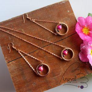 Rózsaarany ékszerszett pink jáde ás gránát ásvánnyal