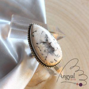 Merlinit gyűrű - ezüstözött, 6 méret