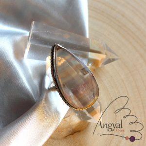 Fluorit gyűrű - ezüstözött, 9 méret
