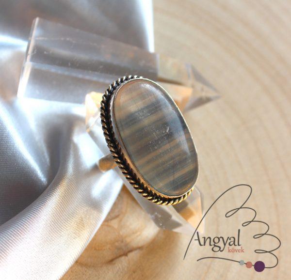 Fluorit gyűrű - ezüstözött, 7.5 méret