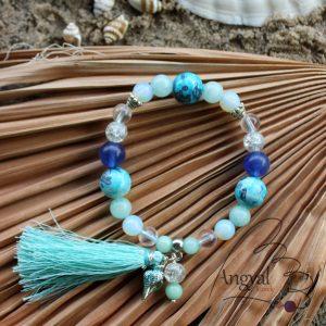 Bohém bojtos ásványkarkötő a tenger színeivel – 2019 nyári kollekció, LAGUNA