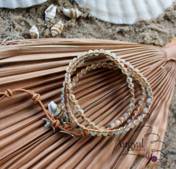 Háromsoros amazonit ásvány karkötő bőrszálon - 2019 nyár