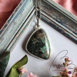 Azurit-malachit ásvány medál ezüstözött foglalatban