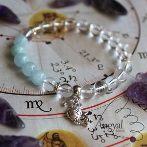 Horoszkóp medálos karkötő - Halak, akvamarin