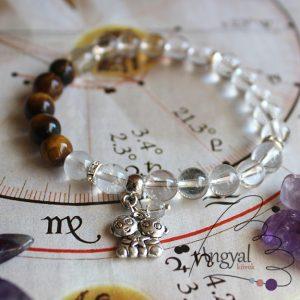 Horoszkóp medálos karkötő - Ikrek, tigrisszem