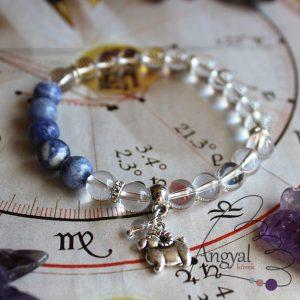 Horoszkóp medálos karkötő - Kos, szodalit