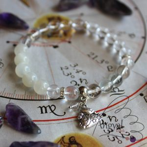 Horoszkóp medálos karkötő - Rák, fehér holdkő