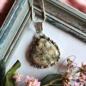 Asztrofillit ásvány medál ezüstözött foglalatban