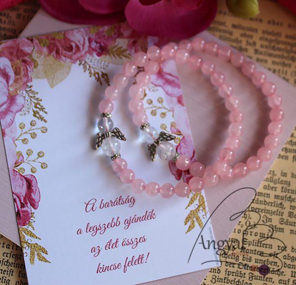 Rózsakvarc angyalos páros barátság karkötő