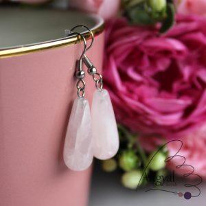 Csepp alakú rózsakvarc fülbevaló