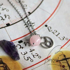 Horoszkóp medálos nemesacél nyaklánc - Bika, rózsakvarc