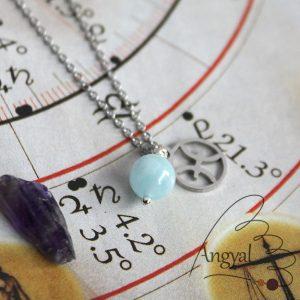 Horoszkóp medálos nemesacél nyaklánc - Halak, akvamarin