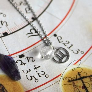 Horoszkóp medálos nemesacél nyaklánc - Ikrek, hegyikristály