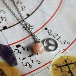 Horoszkóp medálos nemesacél nyaklánc - Kos, barack holdkő