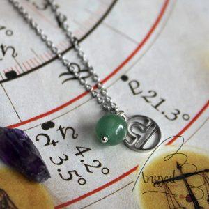 Horoszkóp medálos nemesacél nyaklánc - Mérleg, aventurin