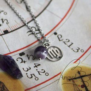 Horoszkóp medálos nemesacél nyaklánc - Szűz, ametiszt