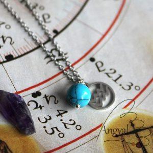 Horoszkóp medálos nemesacél nyaklánc - Vízöntő, türkenit