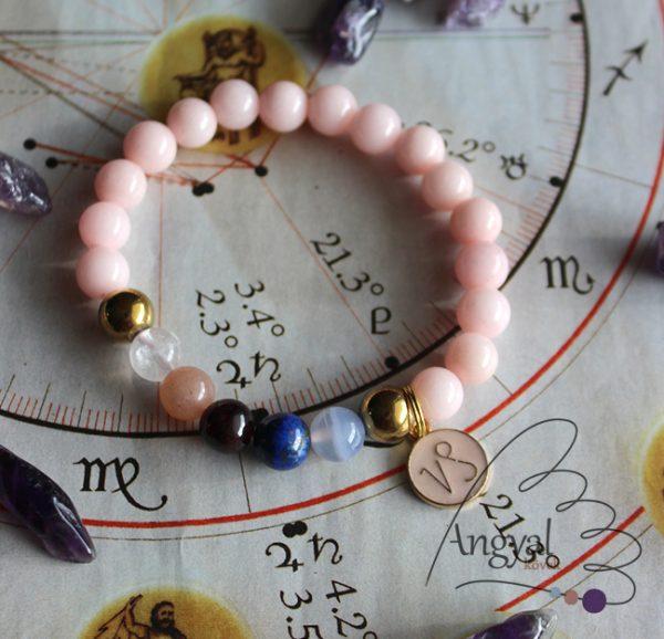Horoszkópos ásvány karkötő Bak medállal