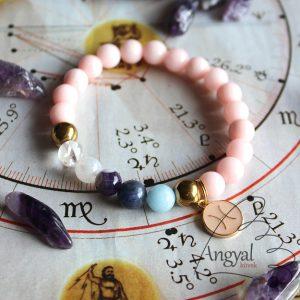 Horoszkópos ásvány karkötő Halak medállal
