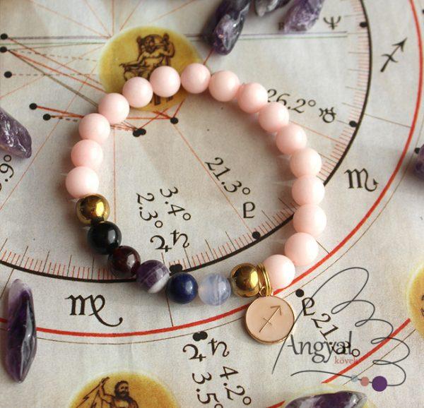 Horoszkópos ásvány karkötő Nyilas medállal