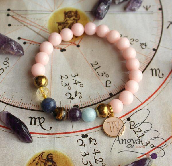 Horoszkópos ásvány karkötő Szűz medállal