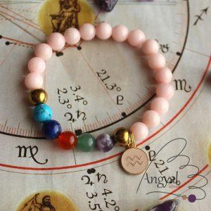 Horoszkópos ásvány karkötő Vízöntő medállal