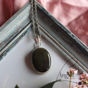Arany obszidián ásvány medál ezüstözött foglalatban
