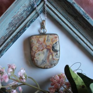 Csipkeachát ásványmedál ezüstözött foglalaltban