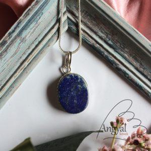 Lápisz lazuli ásvány medál ezüstözött foglalatban