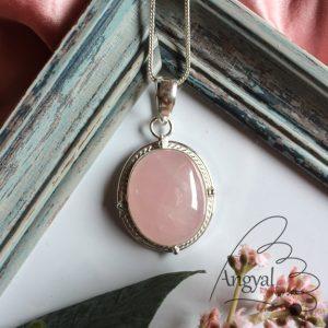 Rózsakvarc ásvány medál ezüstözött foglalatban