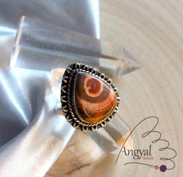 Madárszem riolitjáspis gyűrű - ezüstözött, 8.5 méret
