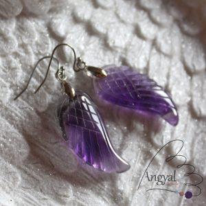 Ametiszt angyalszárny fülbevaló - 2020 ősz