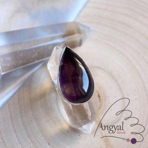 Ametiszt gyűrű – ezüstözött, 7 méret