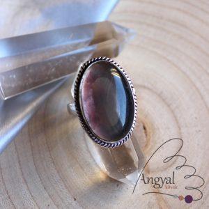 Multikolor fluorit gyűrű - ezüstözött, 6.75 méret