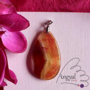 Narancs sávos achát ásvány medál