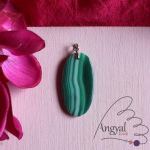 Zöld sávos achát ásvány medál