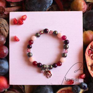 Sünis karkötő morganit, hematit, rubin ásvánnyal - 2021 ősz