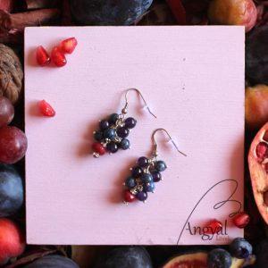 Bogyós fülbevaló ametiszt, kékkvarc, rubin ásványból - 2021 ősz